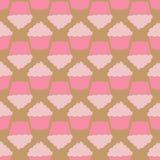 Teste padrão sem emenda do queque de creme cor-de-rosa da morango Fotografia de Stock