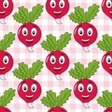 Teste padrão sem emenda do rabanete feliz dos desenhos animados Imagem de Stock