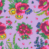 Teste padrão sem emenda do russo floral do vintage Fotografia de Stock