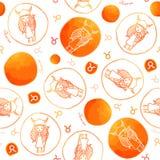 Teste padrão sem emenda do sinal do zodíaco do Touro Imagem de Stock Royalty Free