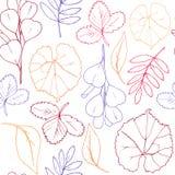 Teste padrão sem emenda do sumário das folhas de outono para o fundo branco fotos de stock