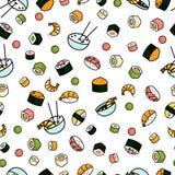 Teste padrão sem emenda do sushi do vetor ilustração stock