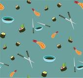 Teste padrão sem emenda do sushi do vetor Alimento asiático imagem de stock royalty free