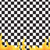 Teste padrão sem emenda do tabuleiro de xadrez e do fogo Sumário preto e branco, fundo infinito geométrico Textura de repetição q Imagem de Stock Royalty Free