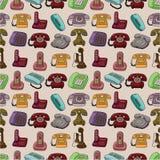 Teste padrão sem emenda do telefone retro engraçado dos desenhos animados Imagem de Stock Royalty Free