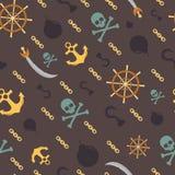 Teste padrão sem emenda do tema do pirata, fundo do vetor Fotografia de Stock