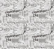 Teste padrão sem emenda do transporte do doodle Imagens de Stock