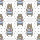 Teste padrão sem emenda do urso bonito no fundo dos às bolinhas Imagem de Stock Royalty Free