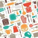 Teste padrão sem emenda do utensílio da cozinha no estilo retro Fotos de Stock