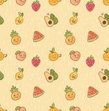 Teste padrão sem emenda do vário fruto do kawaii ilustração stock