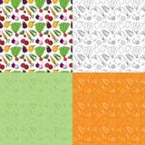 Teste padrão sem emenda do vegetal do Doodle Fotografia de Stock Royalty Free