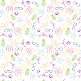 Teste padrão sem emenda do verão com estilo tropical colorido do fundo do ornamento ilustração stock