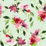 Teste padrão sem emenda do verão com flores da aquarela Fotos de Stock