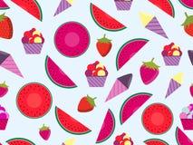 Teste padrão sem emenda do verão com frutos e gelado Cone de gelado da melancia, da morango e Vetor ilustração stock