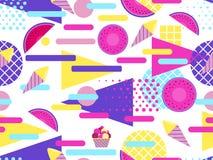 Teste padrão sem emenda do verão com frutos e gelado Elementos geométricos memphis ao estilo de 80s Vetor ilustração stock