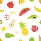 Teste padrão sem emenda do verão com frutos suculentos frescos exóticos no fundo branco Contexto com alimento delicioso do vegeta ilustração do vetor