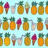 Teste padrão sem emenda do verão com o abacaxi e gelado alaranjados brilhantes e jucie em um fundo diferente para adolescentes ilustração royalty free