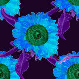 Teste padrão sem emenda do verão do girassol da aquarela Imagens de Stock Royalty Free