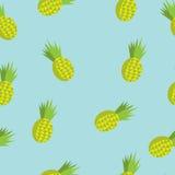 Teste padrão sem emenda do verão do vetor com abacaxis Fotos de Stock Royalty Free