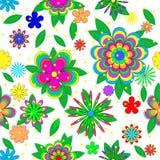 Teste padrão sem emenda do verão dos desenhos animados das crianças com flores, folhas e estrelas Imagens de Stock Royalty Free