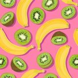 Teste padrão sem emenda do verão mínimo na moda com a banana inteira, cortada do fruto fresco, quivi no fundo da cor Imagem de Stock
