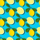 Teste padrão sem emenda do verão mínimo na moda com o limão inteiro, cortado do fruto fresco no fundo da cor Imagem de Stock