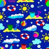 Teste padrão sem emenda do verão do ` s das crianças com ondas Imagens de Stock Royalty Free
