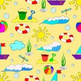 Teste padrão sem emenda do verão do ` s das crianças com ondas Fotografia de Stock Royalty Free