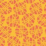 Teste padrão sem emenda do vetor abstrato das formas irregulares Silhuetas do pêssego dos pontos em um fundo alaranjado Grande pa ilustração stock