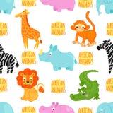 Teste padrão sem emenda do vetor africano dos animais Imagem de Stock