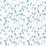 Teste padrão sem emenda do vetor alfabético, teste padrão colorido do ABC para o fundo ilustração royalty free