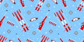 Teste padrão sem emenda do vetor do Biathlon Do inverno ilustração fora Textura repetida equipamento do Biathlon Cópia do molde d ilustração stock