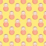 Teste padrão sem emenda do vetor bonito do bebê com roly-poli ilustração stock