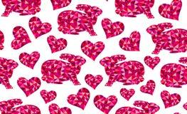 Teste padrão sem emenda do vetor bonito com os coelhos do triângulo e corações geométricos - símbolos do amor Foto de Stock Royalty Free