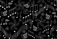 Teste padrão sem emenda do vetor bonito com pássaros do canto e notas musicais Imagem de Stock