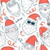 Teste padrão sem emenda do vetor bonito de Santa Clauses Foto de Stock