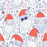 Teste padrão sem emenda do vetor bonito de Santa Clauses Imagem de Stock Royalty Free