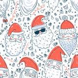 Teste padrão sem emenda do vetor bonito de Santa Clauses Foto de Stock Royalty Free
