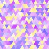 Teste padrão sem emenda do vetor brandamente roxo e amarelo com triângulos Foto de Stock