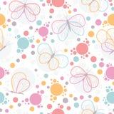 Teste padrão sem emenda do vetor colorido brilhante das borboletas ilustração stock