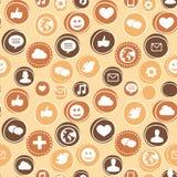 Teste padrão sem emenda do vetor com ícones sociais dos media Fotos de Stock Royalty Free