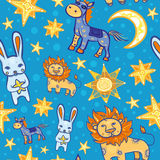 Teste padrão sem emenda do vetor com animais e estrelas na noite Fotos de Stock Royalty Free