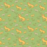 Teste padrão sem emenda do vetor com as famílias da lontra no fundo verde ilustração do vetor