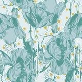 Teste padrão sem emenda do vetor com as flores desenhados à mão da tinta Fotografia de Stock Royalty Free