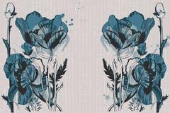 Teste padrão sem emenda do vetor com as flores desenhados à mão da tinta Imagem de Stock Royalty Free