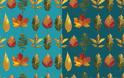 Teste padrão sem emenda do vetor com as folhas do grupo do outono Foto de Stock Royalty Free