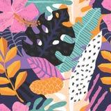 Teste padrão sem emenda do vetor com as folhas tropicais da selva Imagem de Stock Royalty Free
