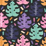 Teste padrão sem emenda do vetor com as folhas tropicais da selva Foto de Stock Royalty Free