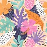 Teste padrão sem emenda do vetor com as folhas tropicais da selva ilustração stock