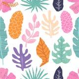 Teste padrão sem emenda do vetor com as folhas tropicais da selva Imagens de Stock